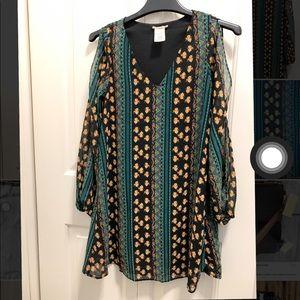 Slit long sleeve blouse